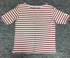 赤×白 ボーダー 厚地半袖Tシャツ S