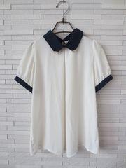 美品/DODO GIRLS/ビジューバイカラーシフォン半袖ブラウス/白紺