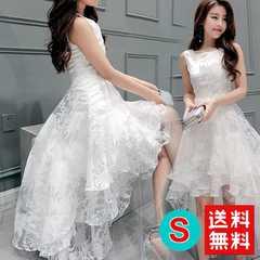純白 花柄 レース アシンメトリー フレア ワンピース S 結婚式