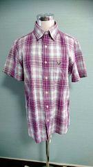 美品 アメリカンイーグル 半袖チェックシャツ ゆったり 大きいサイズ 重ね着