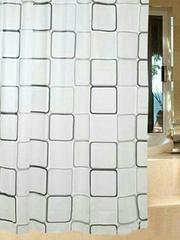 シャワーカーテン 防水防カビ加工 カーテンリング 白黒スクエア