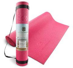 ヨガマット (ストラップ付)6mm 軽量 グリップ性ピンク