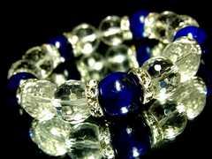 ラピスラズリ瑠璃石§128面カット水晶§12ミリ§銀ロンデル