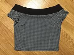 新品タグ付riendaリエンダオフショルダーギンガムチェック柄Tシャツ半袖トップス