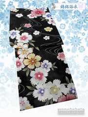 【和の志】女性用浴衣◇綿絽◇Fサイズ◇黒系・撫子◇12