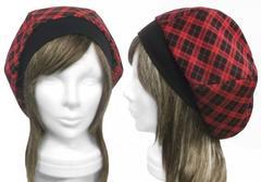チェック柄ジャガード織コットンニット/リブ付ベレー帽◆赤×黒