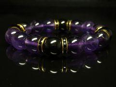 ブラックオニキス×アメジストブレスレット 12ミリ数珠パワーストーン 開運招福