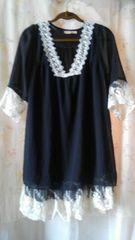 クロシェレース&裾レイヤード/とろみ模様織りシフォン/シックなチュニック