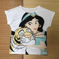 ディズニー・アラジン・ジャスミン&ラジャー柄変形袖Tシャツ