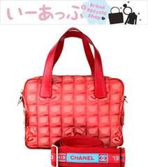 シャネル ハンドバッグ ショルダーバッグ 2WAY トラベルライン 赤 美品 g483