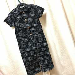 新品◆ ドクロつなぎ ◆半袖&膝丈パンツ◆100 ブラック スカル