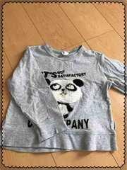 グレー/パンダさん/長袖Tシャツ/ロンT/100�p