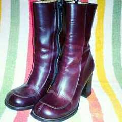 定価2万 美品 革 22cm キスコ KISCO 丸い ショート ブーツ
