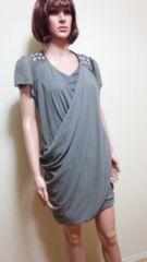 新品TIKA…肩ビジュ&ドレープのワンピドレス☆3点で即落☆
