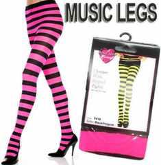 AA1)MUSICLEGSワイドボーダータイツピンク黒ダンサーB系ダンス衣装コスチュームハロウィン