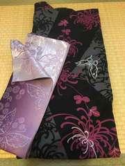 シルバーラメ蝶々柄 浴衣・帯2点セット