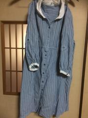 前開きサリーズストライプ七分袖ワンピースM*クリックポスト185円