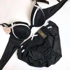 女装☆B80L ビッキー黒 ブラ&パンティ 大きい