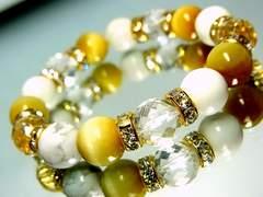 ダイヤカット水晶*ゴールデンタイガーアイ*ハウライトホワイトターコイズ10ミリ金ロンデル