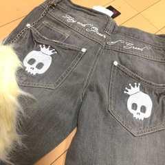 新品◆チェーンファー付デニムジーンズ◆ドクロ刺繍150スカル