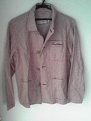 Thomas Burberry 赤色×白色チェック長袖シャツ Mサイズ バーバリー 日本製