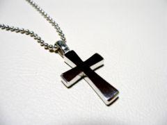 仁尾彫金『フラットプラチナクロス』十字架ハンドメイド90