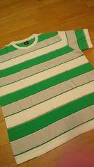 elementデザインボーダー Tシャツ 緑白グレー ロゴ刺繍 サイズXL