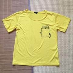 大きいサイズ3L・ポケット隠れ猫キャラクター柄Tシャツ