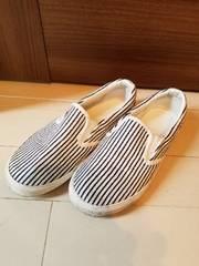 白×デニムストライプスリッポン20�p◆スニーカー靴男女ok(*^^*)