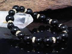 ブラックオニキス10ミリ§8ミリ§金ロンデル数珠