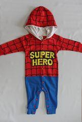 可愛さ倍増♪スパイダーマン風柄フード付カバーオール★70スーパーヒーロー