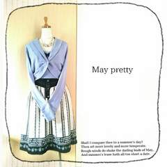 ((May pretty))春色2set♪リボン付千鳥ニットキャミ&ダイヤ釦ボレロカーディガン