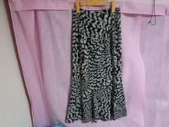 古着:サイズM:黒×グレー×シルバーラメ柄マーメイド風ロングタイトスカート