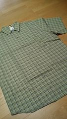 PLAYERSーHOUSEデザインチェック半袖シャツ 草色 サイズ2XLXXL  �O