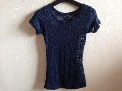 新品未使用ネイビー紺色花柄レース半袖Tシャツ