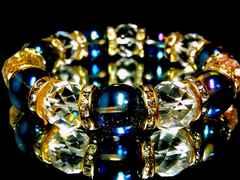 64面カット水晶§ブルーオーラ14ミリ金ロンデル