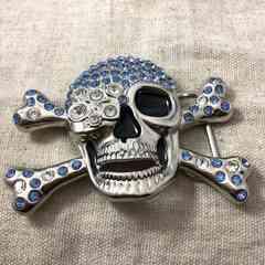 スカルのバックル★ドクロのベルトバックル★髑髏ブルー骸骨