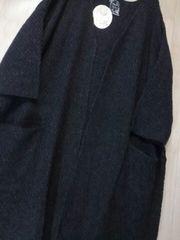 ●鹿の子編みウール混ニットコーディガン● 新品ダークグレー