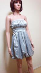 新品キャバ…プリーツいっぱい銀バルーンのドレス☆3点で即落☆