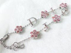 4442/クリスチャンディオールDiorお花柄デザインのピンク石入りのブレスレット