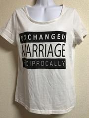 ★白×ロゴ入Tシャツ  L★