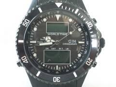 5225/ELGINエルジン★フルブラックコーティングタフソーラーアナデジメンズ腕時計