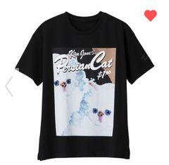 GU×キムジョーンズ・ネコキャラクターTシャツ。ブラック