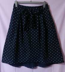 大きいサイズ☆3L☆TR リボンスカート☆ドット柄☆紺☆