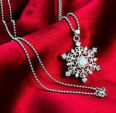1円〜◆クリスタル snowflake ペンダント