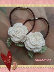 ハンドメイド/手編み♪レース編みお花のヘアゴム2個セット 584