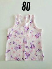 ピンクにミニー柄袖無しシャツ