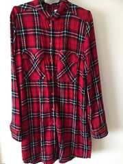 H&M 赤チェックロングシャツ 38  Lサイズ