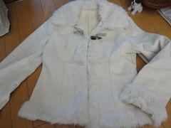 ベロア風ホワイトハーフコート