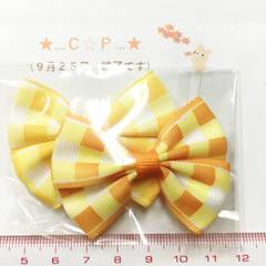 25*�@スタ*チェックモチーフリボン2個*黄色オレンジ*533